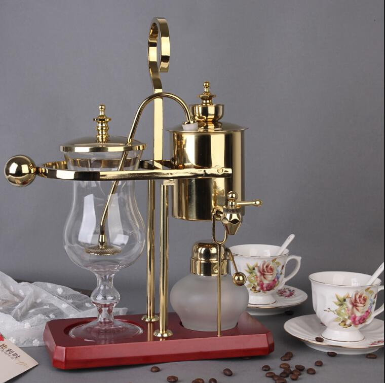 ロイヤルベルギーコーヒーメーカー/コーヒーマシンexpressoコーヒーメーカーゴールドソリッドウッドベース