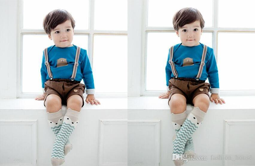 2015 fox meias bebê meias altas do joelho chaussettes enfant bebê recém-nascido longo listrado crianças crianças meias de algodão meias sokken BY0000