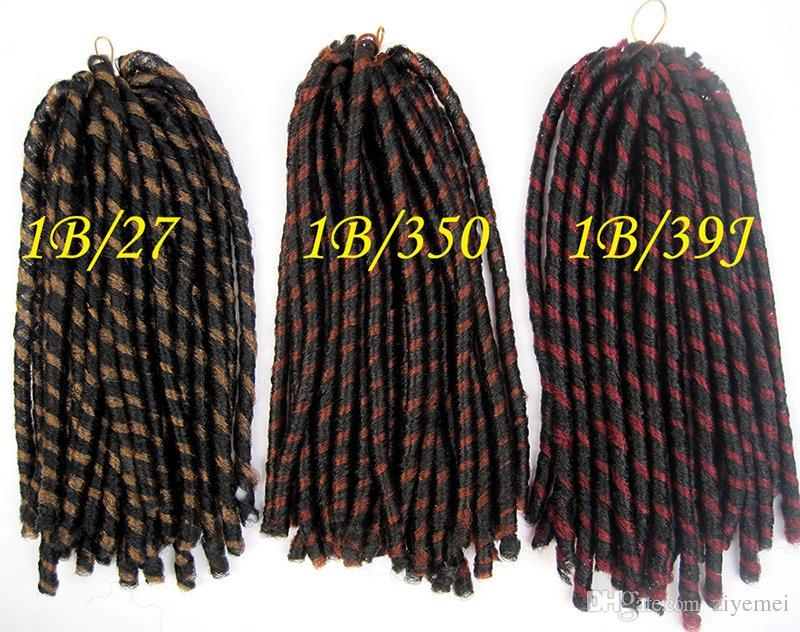 soft dread locks kinky braid NINA SOFTEX kanekalon fiber synthetic braid hair extension mixed color curly hair extension free sh