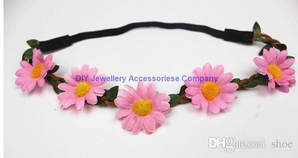 Bohemian Headband for Women three Flowers Braided Leather Elastic Headwrap sunflower hair band Assorted Colors Hair Ornaments