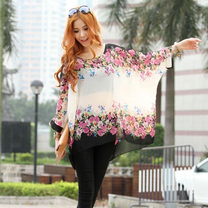 092ba649907 2019 2015 Plus Size Women Chiffon Blouses Fashion Floral Print Shirts  Blusas Femininas Summer Casual 3 4 Sleeve Blouse Tops Camisas From  Caliu123