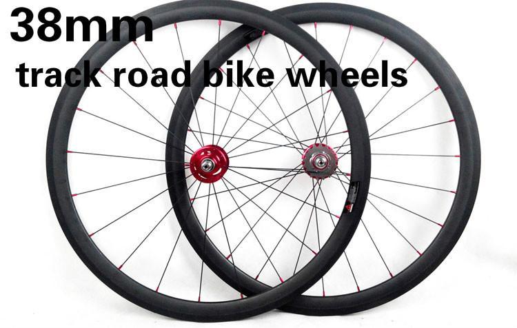 Toray T700 carbon fiber track bikes wheelset 38mm rims fixed gear bicycles wheels Mac CN spokes novatec hub 24/28/32 holes