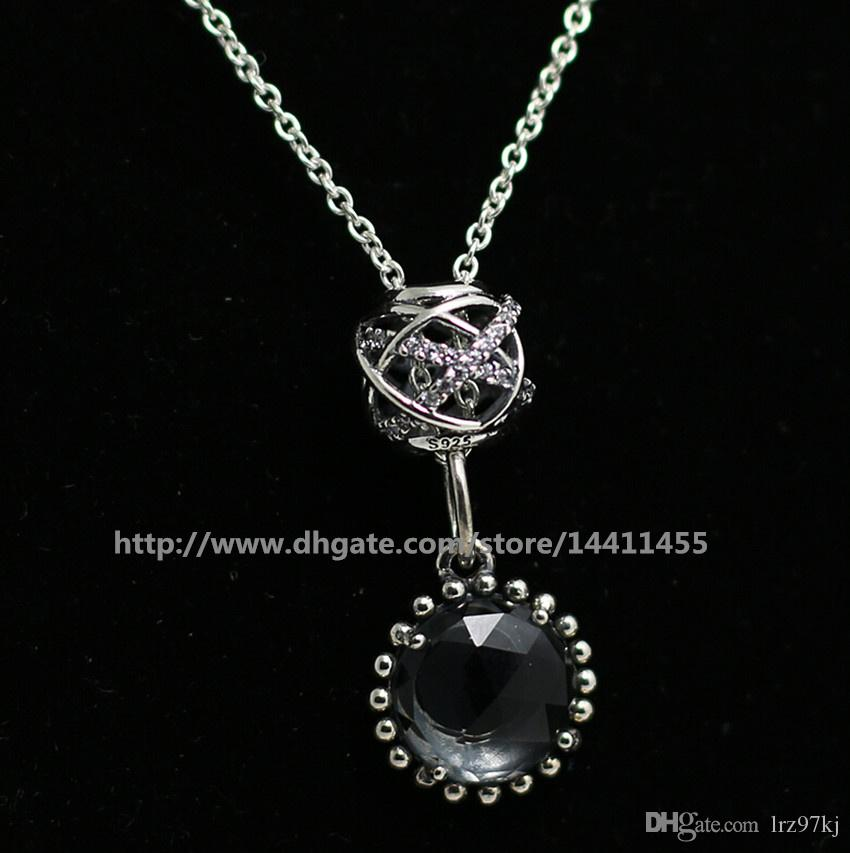 DIY Loose Beads Necklace 925 Sterling Silver Charm Pendant Necklace With European Pandora Style Charms and Beads Pendants-Midnight Blude