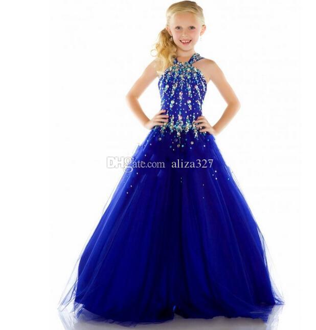 2015年の新しいチュールロイヤルブルーの安い美しさのページェントのドレスの女の子のフォーマルな長いセクシーな女の子ドレス
