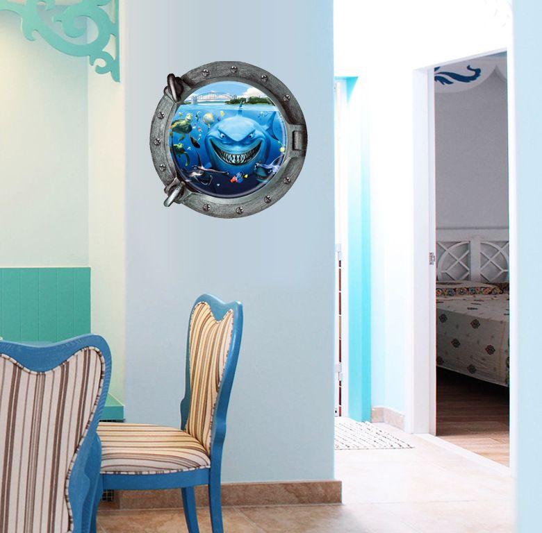 Creative 3D Stereoscopic PVC Underwater World Wall Art Decal Window View Shark Turtle Bridge Wallpaper Murals DIY Home Decoration Stickers