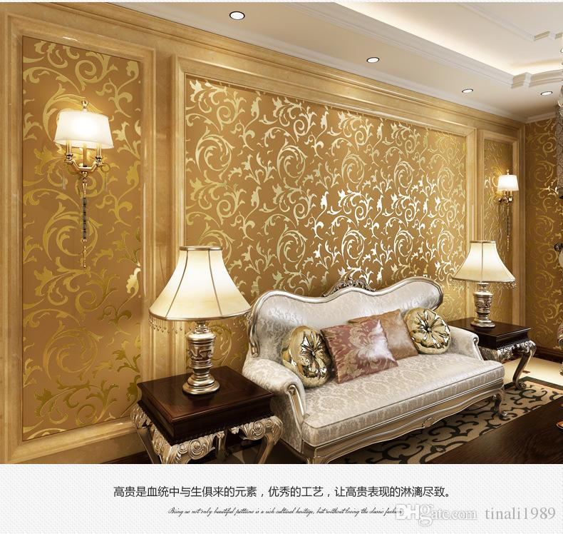 luxury golden non woven wallpaper roll for walls damask murals for tv background silver. Black Bedroom Furniture Sets. Home Design Ideas