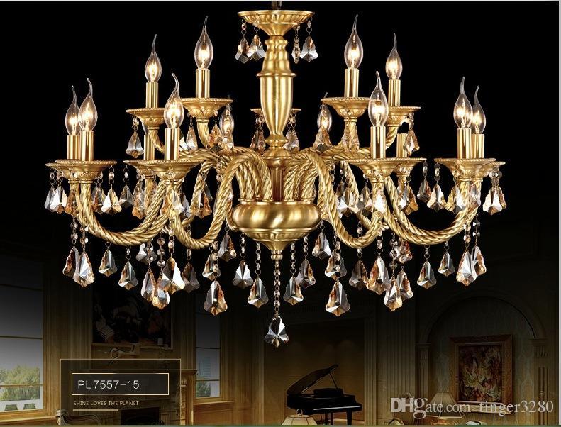 18L 40W Brass Pendant Lamp, Antique Brass Chandelier, Vintage Total Copper Glass AC110V/220V 100% Guaranteed
