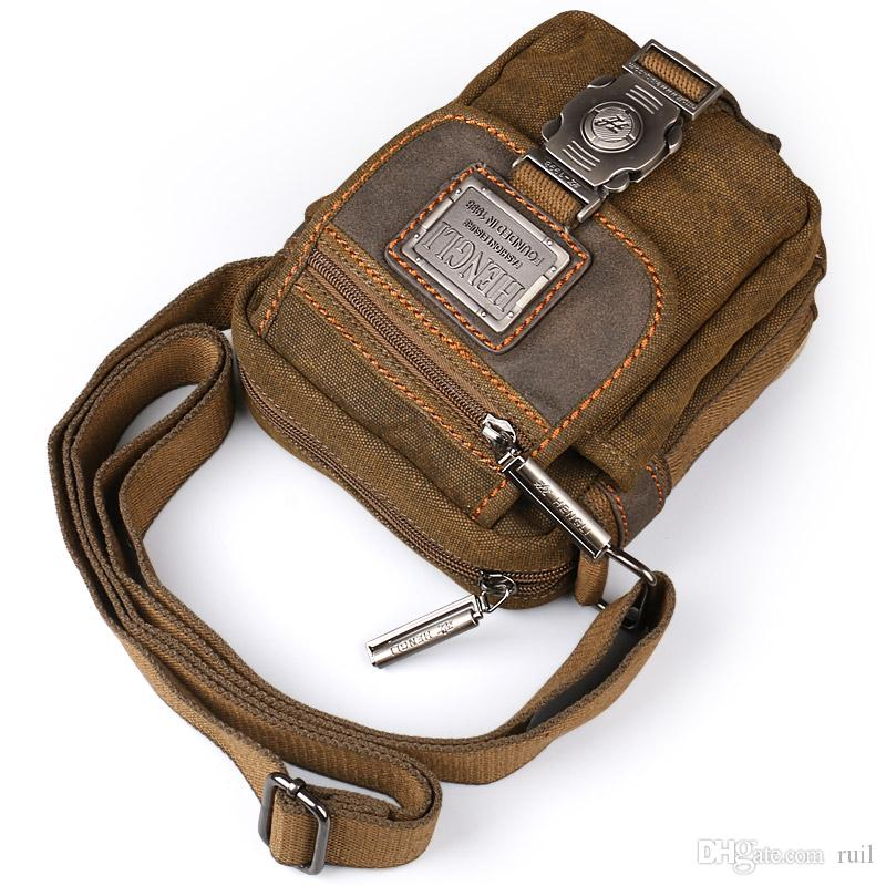 Ruil Retro Canvas Small Bag Men S Fashion Multi Functional Pockets Leisure  Travel Phone Bag Toolkit Vintage Package Leather Backpacks Shoulder Bags  For ... c74292289ed13