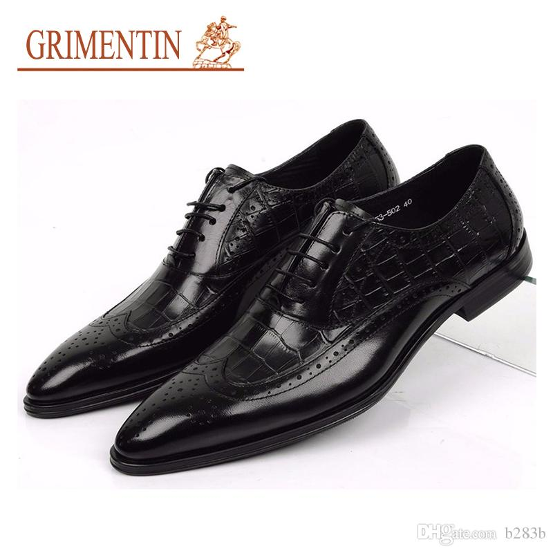 1eb5b4a907acd GRIMENTIN Hot Sale Men Shoes Brand Genuine Leather Mens Wedding Shoes  Crocodile Style Black Brown Italian Men Formal Shoes Size 38 46 2ox13 Slip  On Shoes ...