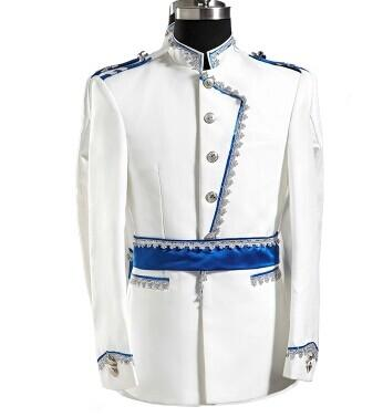 prince white royal mens period costume Medieval suit stage performance /Prince charming fairy William /civil war/Colonial Belle stage