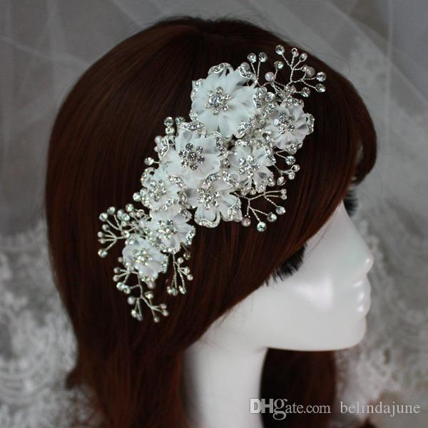 2015 Luxurious Wedding Bridal Hair Accesories Crystal Pearls Adorned Bridal Flowers Headpiece Clip White Headwear Tiaras Made In China