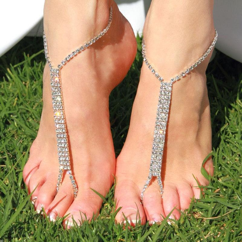 Sandal Beach Anklets For Women Sexy Sliver Plated Ankle Bracelet Toe Slave Foot Jewelry Chain