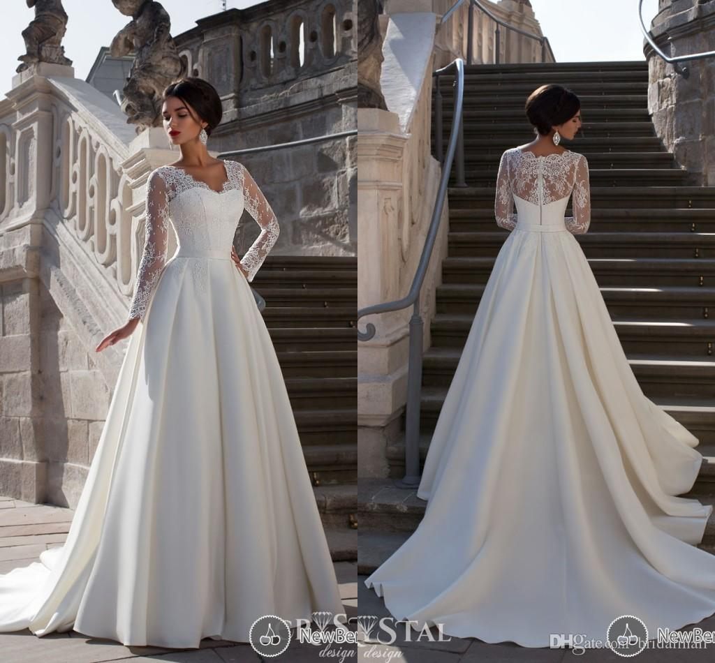 full wedding dresses. discount 2015 new elegant full sleeve white ivory wedding dresses chapel train empire a line zipper sheer v neck stain with lace bridal gowns hy12