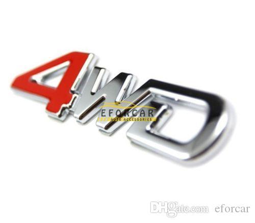 300 stks / partij Auto Metalen Sticker Emble Red 4WD 4 Wielaandrijving voor SUV Gepersonaliseerde Sticker Gratis verzending