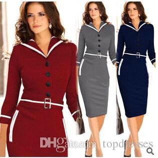 9c2b68db9 2019 New 2015 Fashion Vintage Dresses Women Elegant Business Work Wear  Formal Pencil Dress Summer Office Women Career Dresses Ladies From  Topdresses