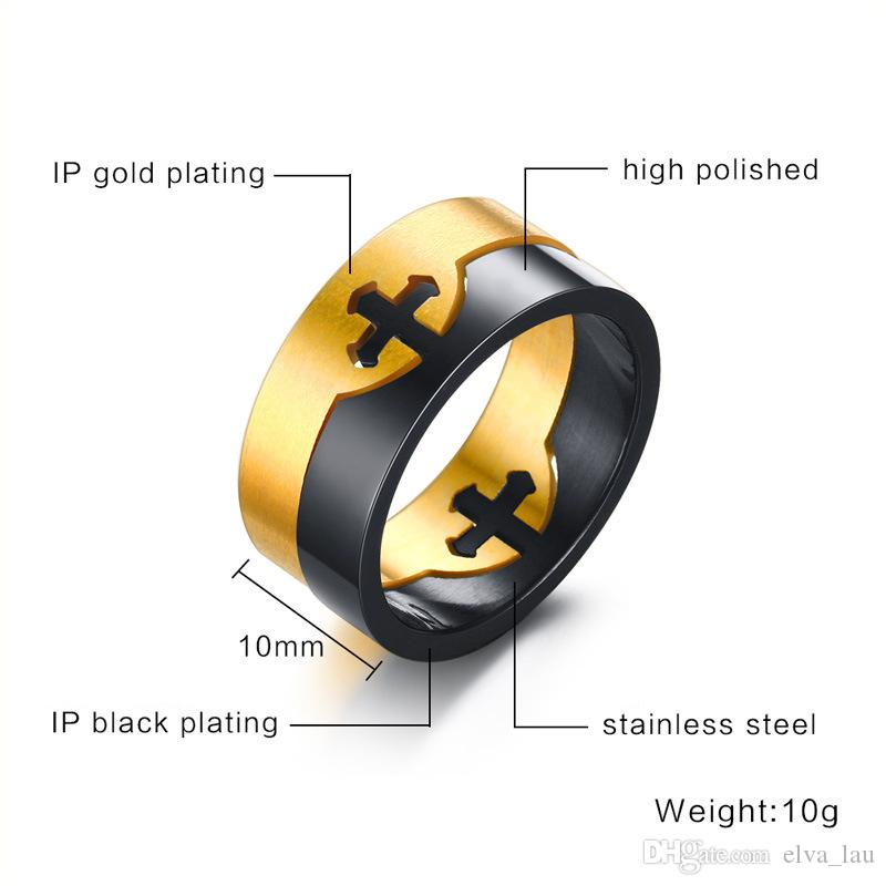 Fashion Unique Men Rings Removable Double Cross Stainless Steel Rings Black & Golden Combine Color Biker Rings Wedding Jewelry US Size 6-13