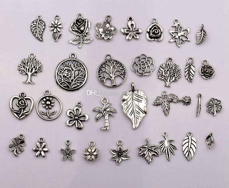 antika silverblandade blommor, träd, löv Charm Pendants för smycken, örhängen, halsband DIY Tillbehör