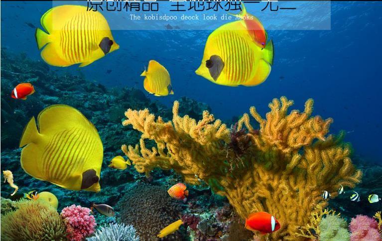 Таможня 3D полы тропических рыб спальни обои 3D полов воды PVC собственн-прилипателя