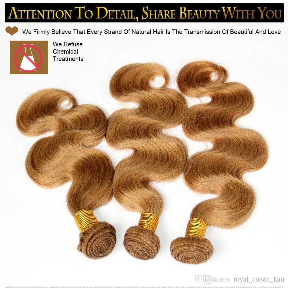 Honig Blonde Russische Körperwelle Reine Haarwebart Sexy Farbe 27 # Russische Menschenhaar Körper Wellenförmige 3/4 Bundles Cinderella Mädchen Haarverlängerungen