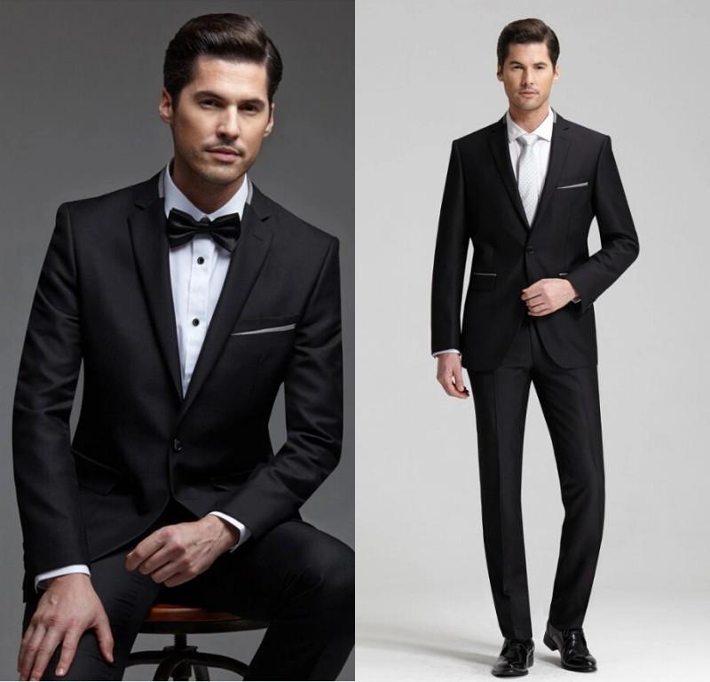 New Style 2015 Men Wedding Suits Black One Button Two Piece Suit ...