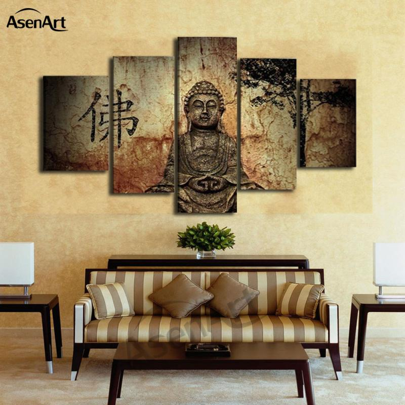 5 Pieces Buddha Canvas Wall Art Picture Home Decoration Living Room Canvas Print Painting On The Wall Framed Dropshipping