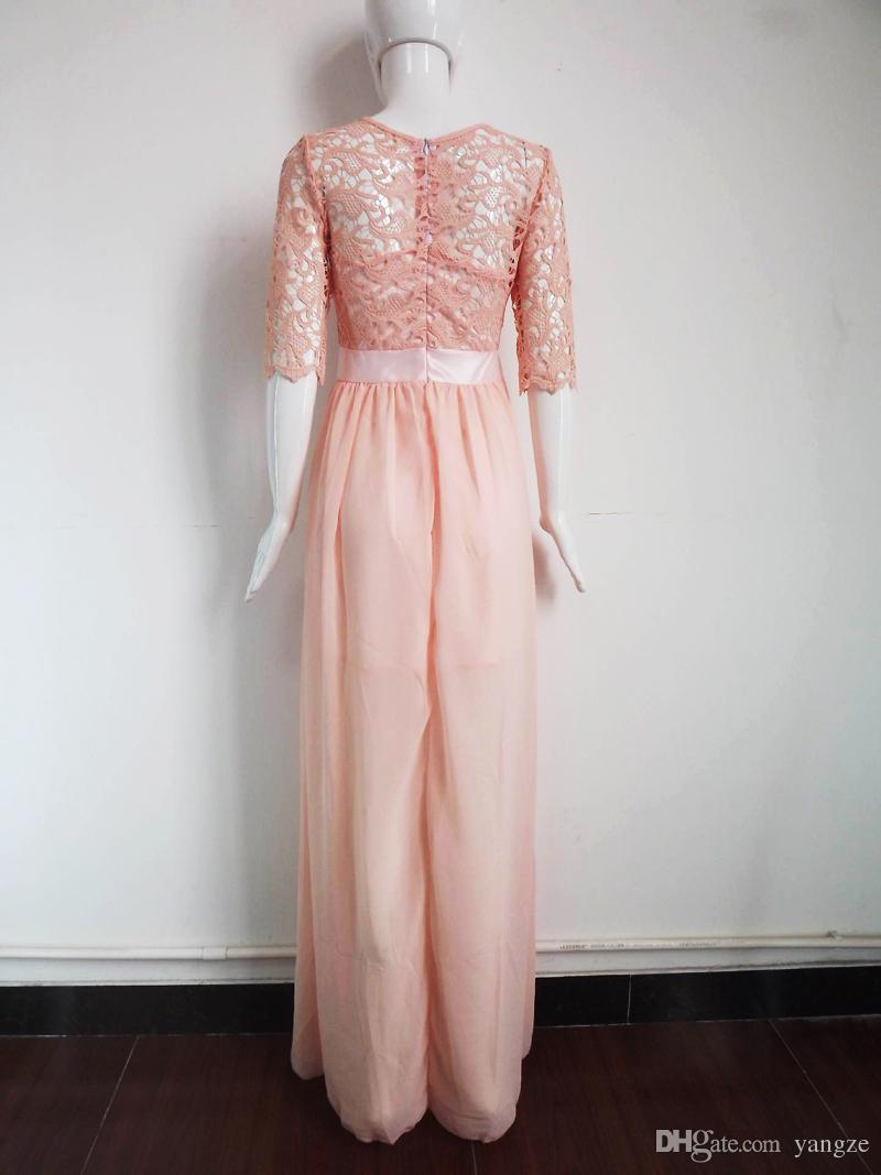 Hot Lace Chiffon Prom Gown Dresses for Women Maxi Dress Half sleeve Hollow out High Waist Sexy Wedding Evening Dress Party dress 2015 KF274