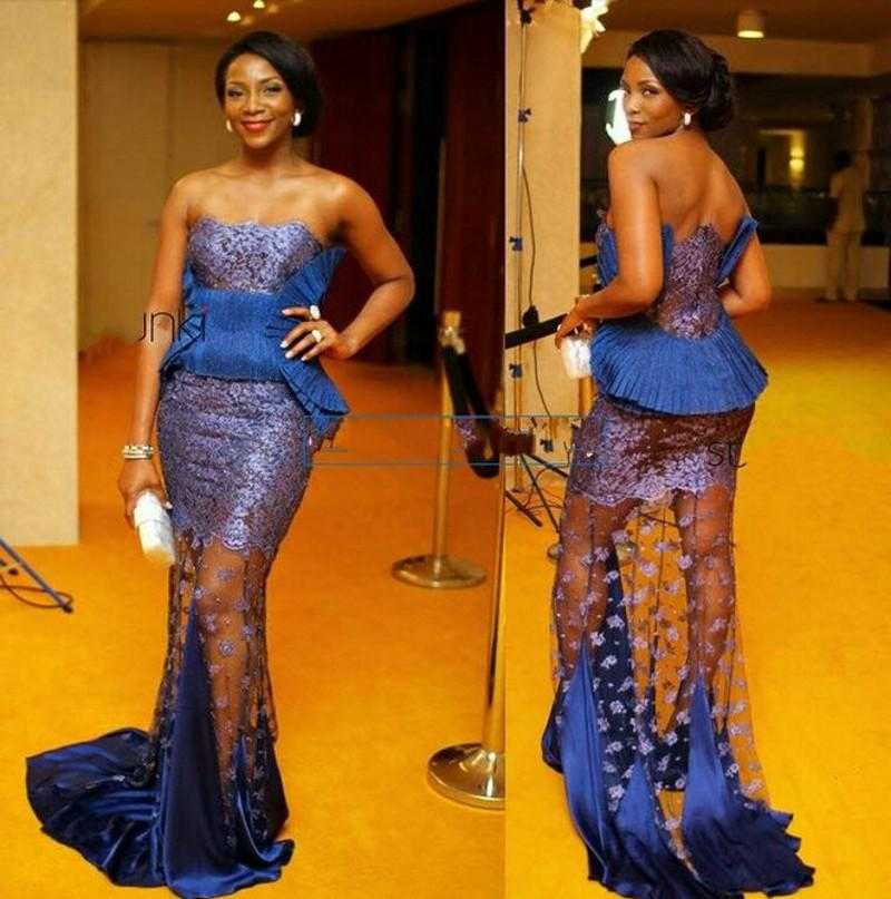 2016 Design Aso Ebi Mermaid Sheer Lace Evening Dresses Strapless With Pleated Blue Satin Peplum Formal Africa Evening Gowns Sweep Train