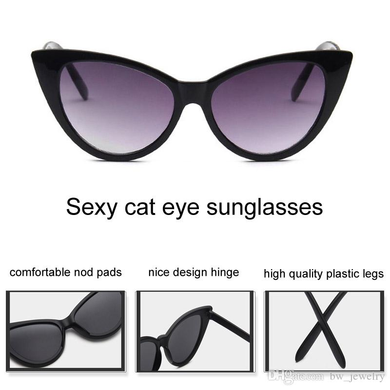 Sexy Cat Eye Sunglasses Mujeres Negro Blanco Plástico Sun Glasses Superstar marca Cateye Shades Retro Coating Mirror Oculos
