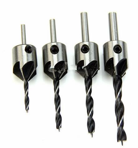 Fashion Hot HSS 5 Flute Countersink Drill Bit Set Reamer Woodworking Chamfer 3mm-6mm