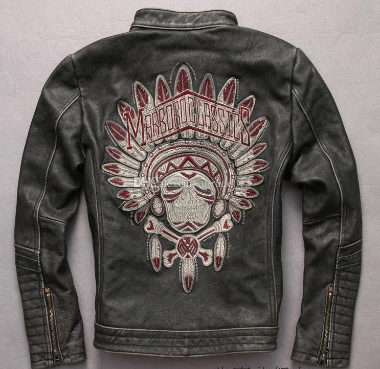 M-XXXL Marbobo Clássico jaquetas de couro genuíno do vintage preto cabeça da índia Bordado gola de motocicleta jaquetas