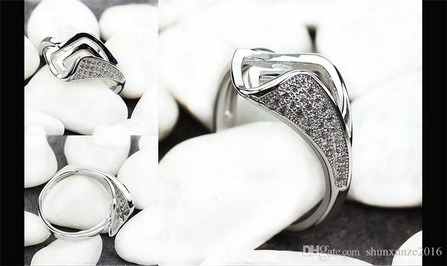 منتجات من الدرجة الأولى نوبل السخية MN3136 sz # 6 7 8 9 الكلاسيكية الأبيض زركون المفضلة النحاس الروديوم مطلي للنساء خواتم الترويج