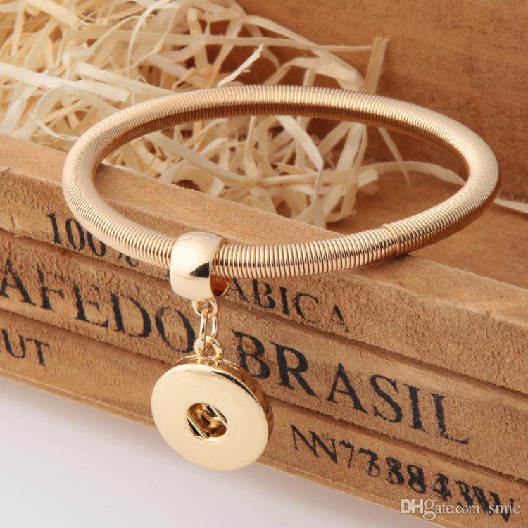 Мода Женщины NOOSA DIY Золото Серебро Позолоченные Металл Noosa Chunk Ginger Snap Button Charm Bracelet Jewelry Взаимозаменяемые j3658-j3661