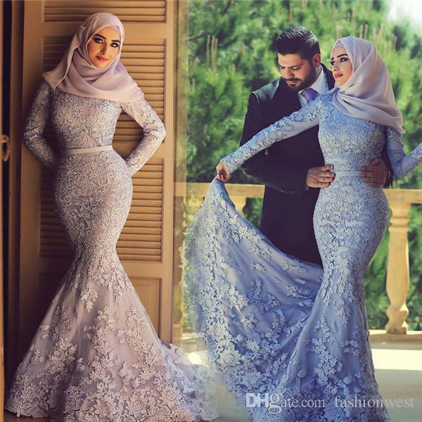 Kant zeemeermin jurk 2016 moslim hoge hals kant lange mouw trouwjurk zeemeermin trouwjurken