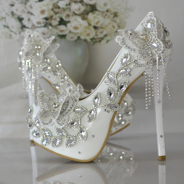 Butterfly Wedding Shoe Crystal Diamond Bride Shoes Picture Taken