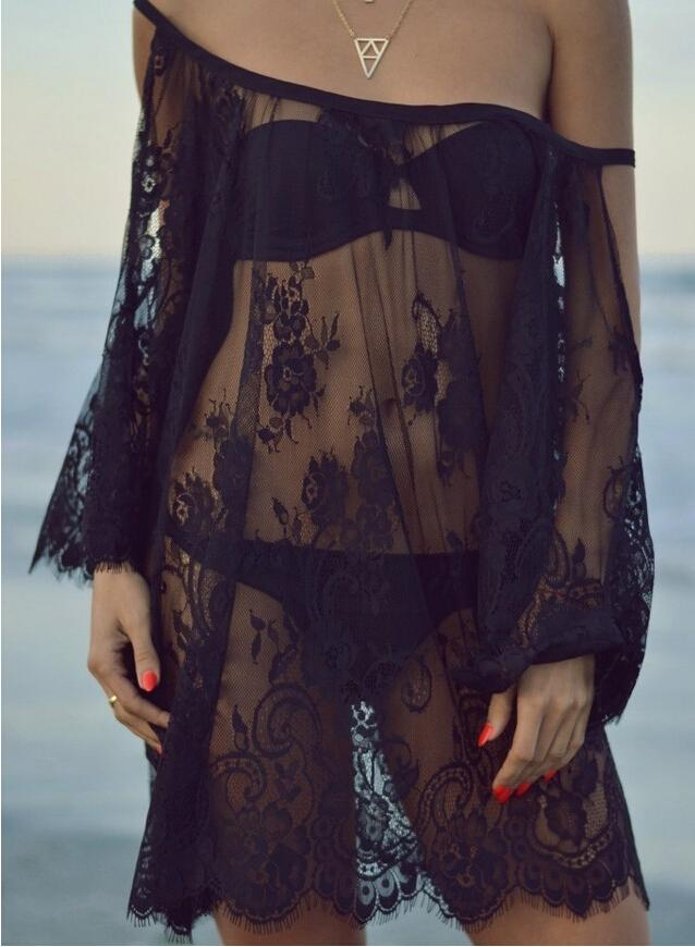 sexy lace gauze sheer straps strapless beach shirt dresses plus size summer women seaside off-the-shoulder hollow white black smock blouse