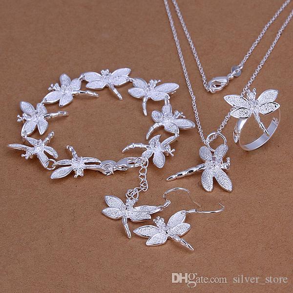 De alto grado de plata de ley 925 de la libélula Insets los sistemas determinados de la joyería del anillo pendiente DFMSS328 Directo de fábrica venta 925 pulsera collar de plata