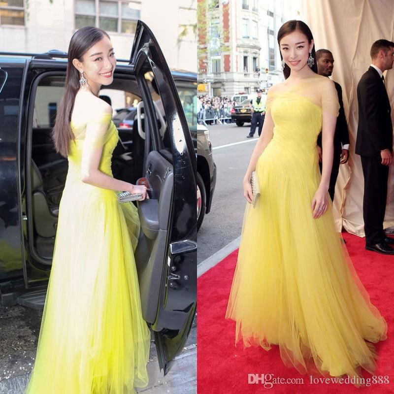 2b3c7fec99f 2015 Met Gala Ni Ni Elegant Prom Dresses Met Ball Soft Tulle Yellow Evening  Gowns Long Formal Strapless Gorgeous Celebrity Red Carpet Gowns Edgy Prom  ...