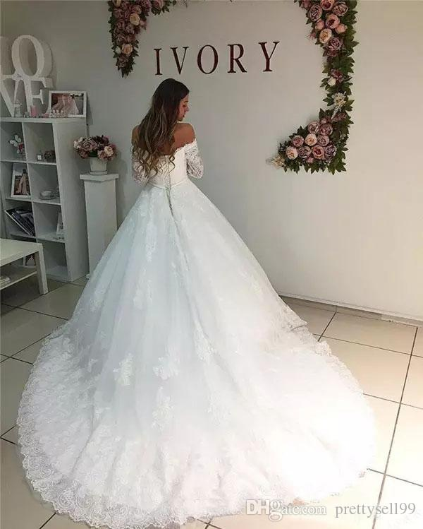 Elegante Mangas Compridas Rendas Vestidos de Casamento 2018 Appliqued Fora Do Ombro Lace-up Traseiro Quadra A Linha de Casamento Vestidos de Noiva