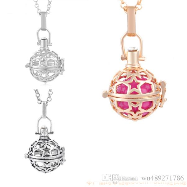 Hollow Stars Cage Pendant Locket Perfume Fragrance Essential Oil Aromatherapy Diffuser Harmony Ball Necklace Gift Free Chain