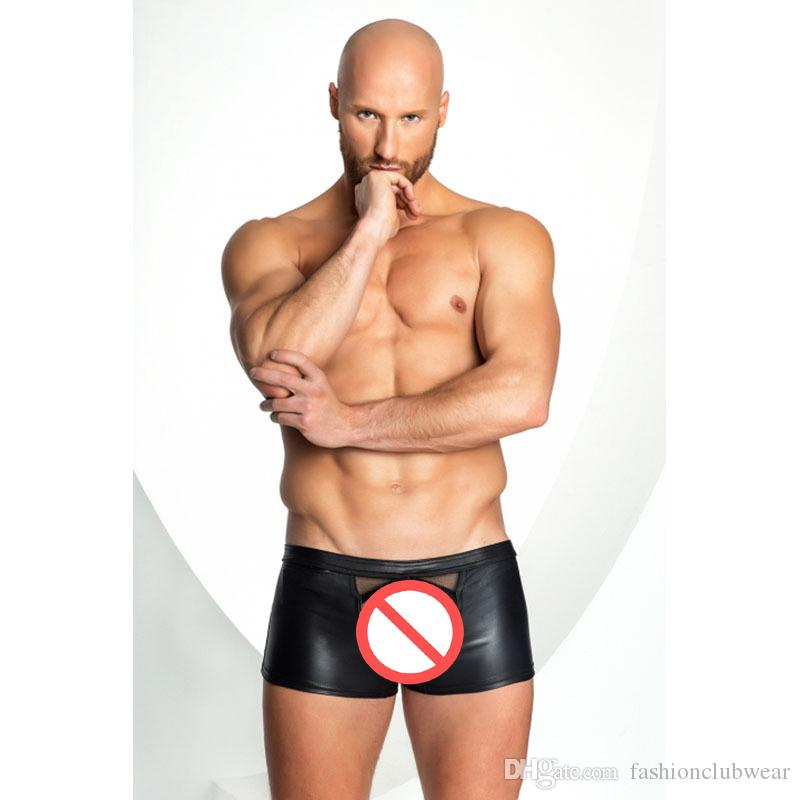 New Design Mens Black Faux Leather Short Panties Elastic Waist Boxer Shorts Sexy Mesh Spliced Underwear Nightclub Underpants