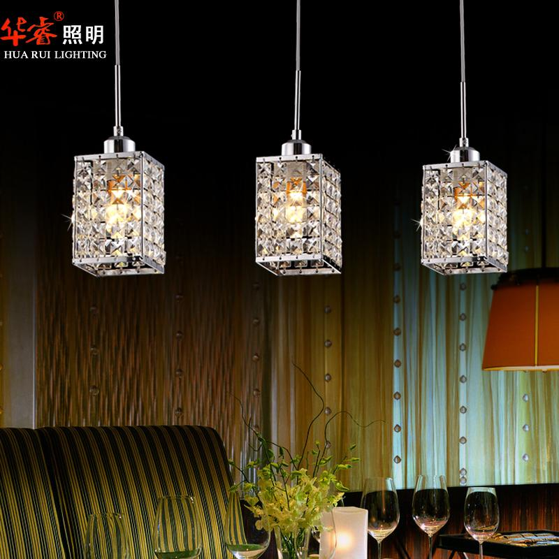 Discount 3head Modern Square Led Crystal Chandeliers Dining Room Lights Kitchen Lighting Staircase Lamp Hanging Light Fixtures Pendant