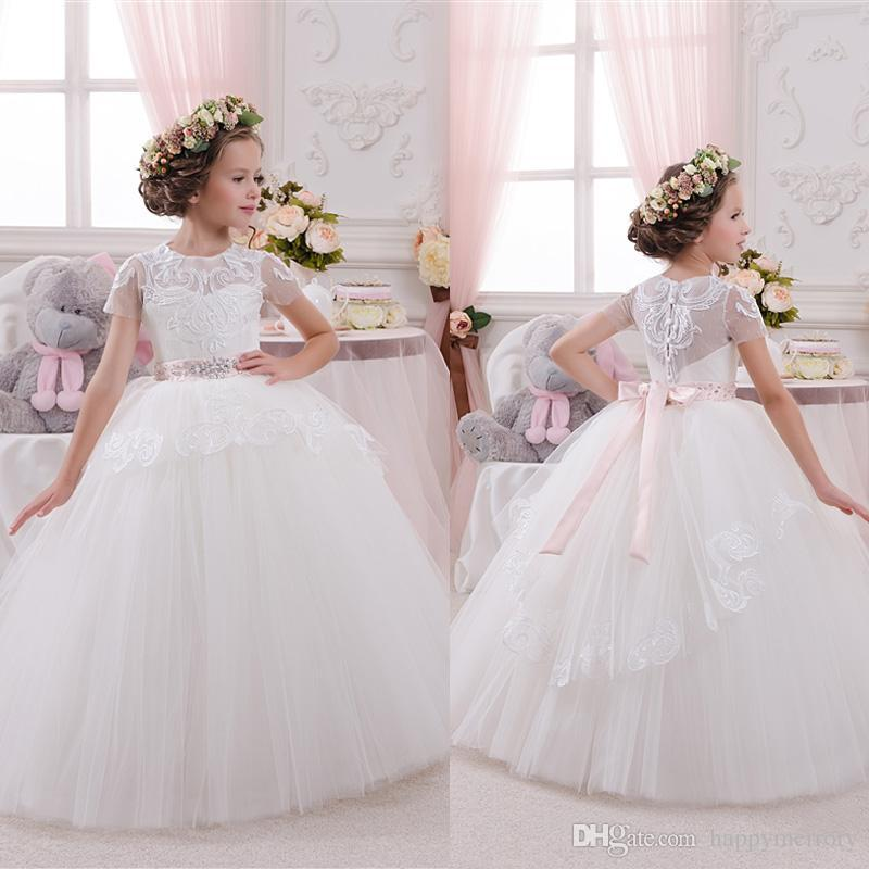 Little Bridal Flower Girl's Dresses Sheer Jewel Short Sleeve Ball Gown Princess Girl's Pageant Dresses Free Shipping