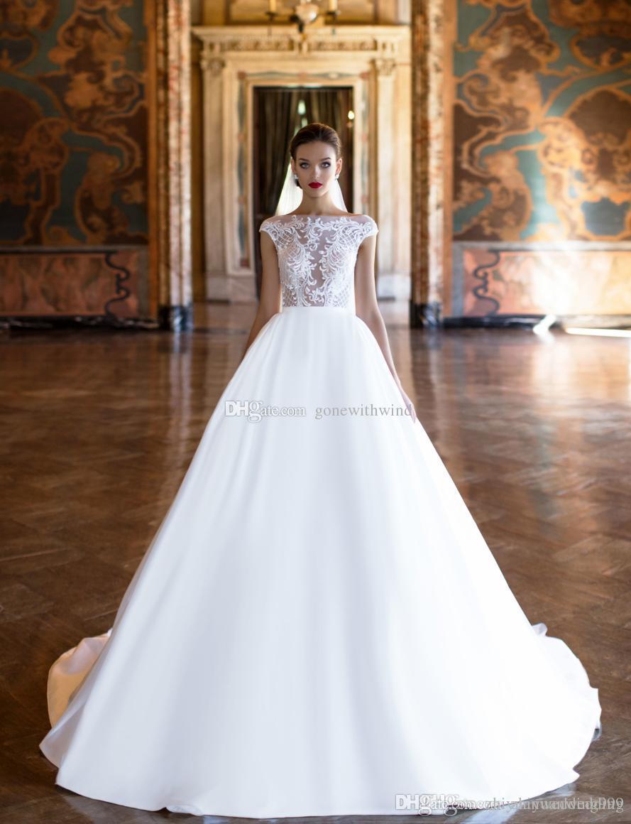 Lace Bodice Satin Skirt Ball Gown Wedding Gowns 2017 Milla Nova ...