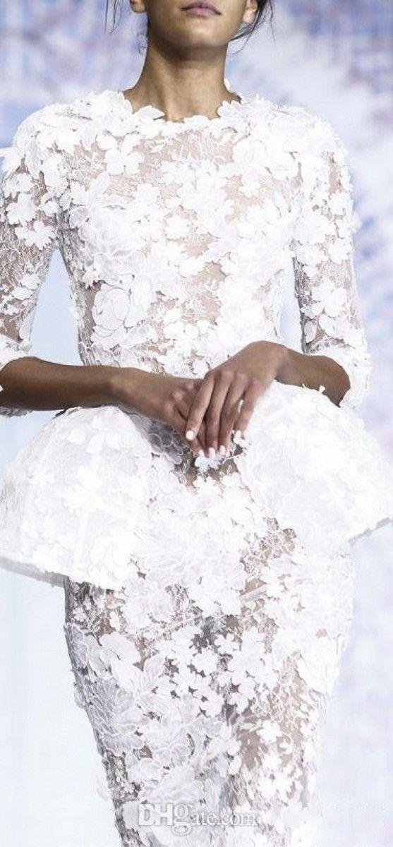 Primavera 2019 Little White Abiti da sera Manica lunga Lunghezza al ginocchio Breve Prom Pizzo Floreale Haute Couture Ralph Russo Guaina Abiti formali 165