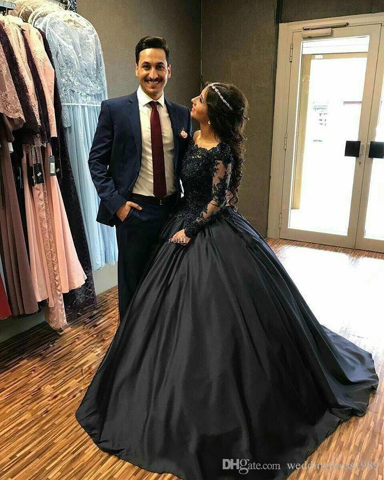 Bellissime perline nere Sheer Party Dresses Maniche lunghe in raso Custom Cheap A-Line Women Wear Quinceanera Prom Dress Formal Evening Ball Gowns