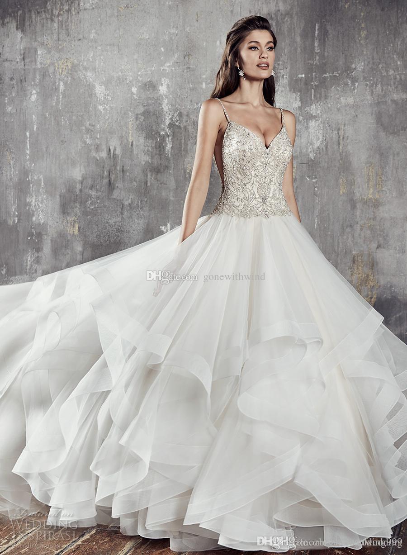 6ab50a4eaba Layered Skirt Ball Gown Wedding Dresses 2018 Eddy K Bridal Spaghetti Strap  Sweetheart Neckline Heavily Embellished Bodice Chapel Train Gown Wedding  Satin ...