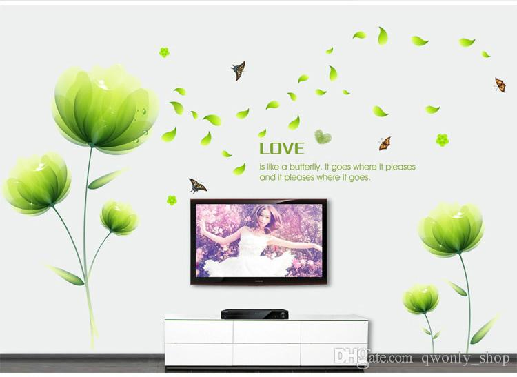 Fleur verte Papillons Fluttering Wall Sticker Chambre Canapé TV Toile de fond Maison Peinture Décorative Mur Décor Autocollants