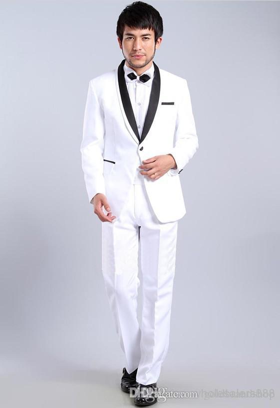 Slim Fit White One Button Groom Tuxedos Shawl Black Lapel Best man Groomsman Men Wedding Suits Bridegroom Jacket+Pants+Tie+Girdle