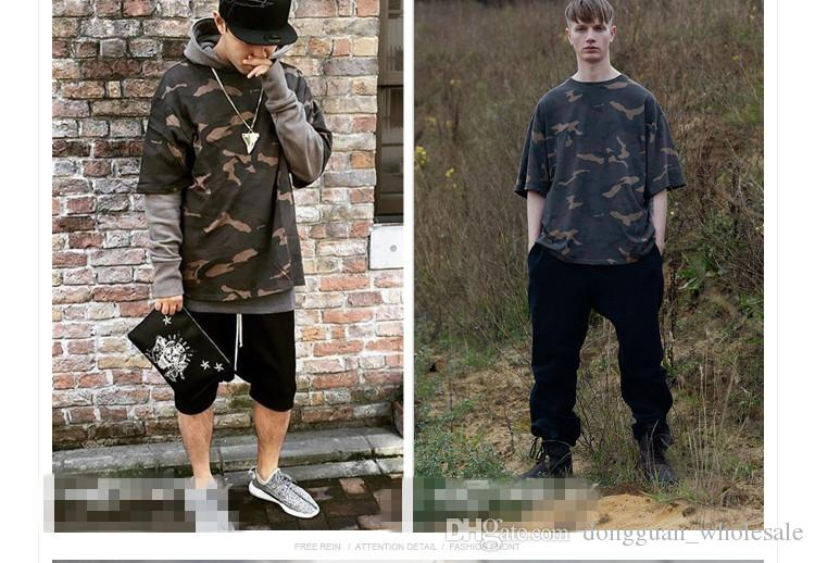 2016 Camo Tee Hip Hop moda para hombre camiseta Camuflaje militar hombres manga corta O-cuello Kanye West camiseta para Streetwear S-XXXL