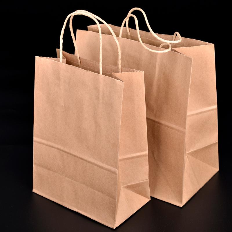 Disposable Kraft Paper Bread Bag Eco Friendly Baking Toast Cake Gift Bag Takeaway Dessert Food Package SK735
